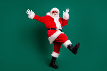 Full Length Body Size View Of His He Nice Attractive Handsome Carefree Cheerful Cheery Santa Having Fun Dancing Rest Relax Amusement Celebratory Festive Day Isolated Over Green Color Background