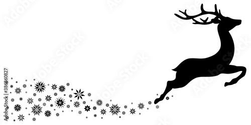 Nach Rechts Fliegendes Rentier Schneeflocken Schwarz