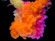 Abstract Of Orange And Pink Cl...