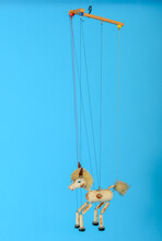 Horse Puppet Isolated In Blue Background