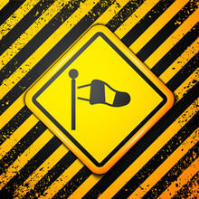 Black Cone Meteorology Windsock Wind Vane Icon Isolated On Yellow Background. Windsock Indicate The Direction And Strength Of The Wind. Warning Sign. Vector.