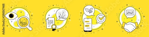 Fototapety, obrazy: Bumper cars, Leaves and Fireworks line icons set. Licence, cell phone and deal vector icons. Dj controller sign. Carousels, Grow plant, Pyrotechnic salute. Musical device. Business set. Vector