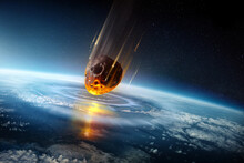 A Huge City Sized Meteor Slams Into The Earth's Atmosphere Creating Shock Waves. Mass Extinction Event 3D Science Illustration.