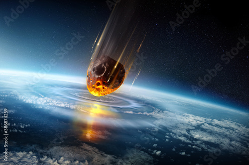 Obraz A huge city sized meteor slams into the earth's atmosphere creating shock waves. Mass extinction event 3D science illustration. - fototapety do salonu