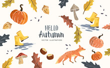 Autumn Seasonal Composition With Hand Crafted Fall Elements, Leaves, Mushrooms, Pumpkins And Animals. Vector Illustration.