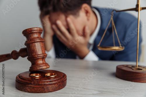 Fototapeta Single sad husband after divorce