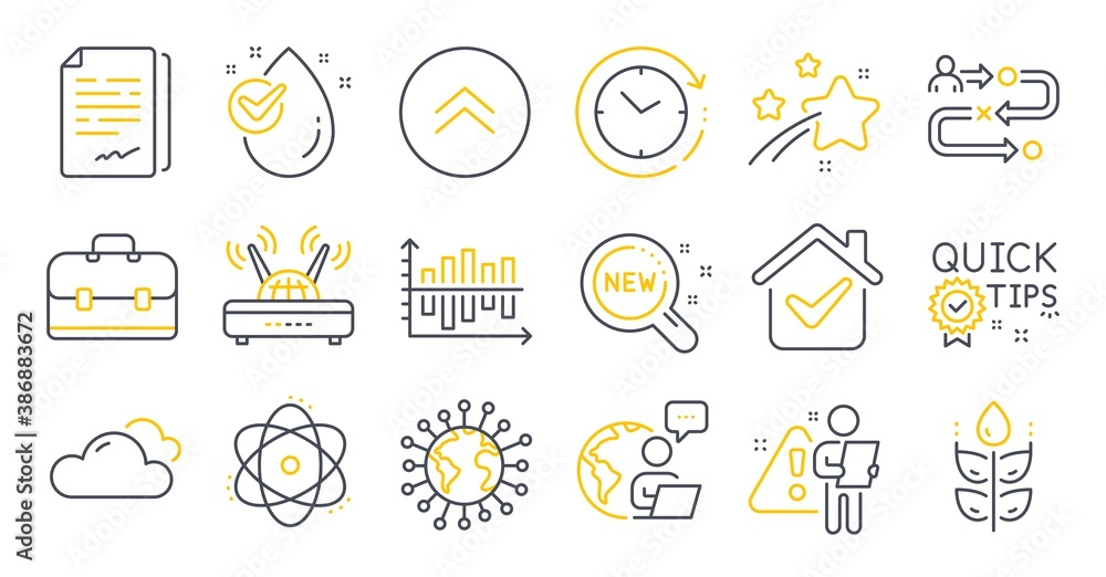 Fototapeta Set of Science icons, such as Wifi, Water drop, New products symbols. Cloudy weather, Coronavirus, Journey path signs. Time change, Swipe up, Atom. Quick tips, Portfolio, Gluten free. Vector