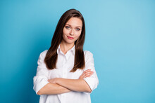 Photo Of Attractive Business Lady Arms Crossed Friendly Person Wear White Shirt Isolated Blue Color Background