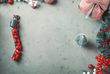 Christmas Festive Dark Earthy Green Background With Toy Wooden Vintage Train And Small Tree. Moody Frame Flat Lay