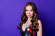 Leinwandbild Motiv Photo of attractive gorgeous girl look good in camera wear glossy clothes isolated violet bright color background.