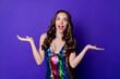 Leinwandbild Motiv Photo of crazy astonished girl look copyspace up hold hand wear skirt isolated shine violet color background