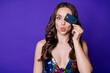 Leinwandbild Motiv Photo of lovely cute girl cover face credit card send air kiss pay wear rainbow dress isolated shine violet color background