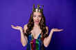 Leinwandbild Motiv Photo of funny lady prom queen raise arms wear shiny sequins dress isolated purple color background