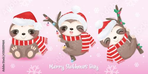 Naklejka premium merry christmas card with cute sloth. Christmas background illustration