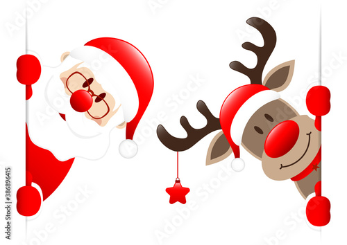 Weihnachtsmann Und Rentier Mit Stern Banner Innen - 386896415