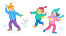 Children In Winter.Two Little Girls  And Funny Boy Are Playing Snowballs. In Cartoon Style. Isolated On White Background. Vector Flat Illustration.