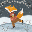 Merry Christmas and Happy New Year! Vector winter illustration of cute animal fox ice skating with garland. Drawing for a holiday postcard or card