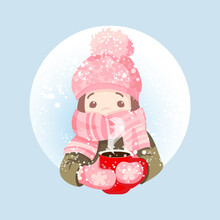 A Little Girl In A Hat And Scarf With A Red Mug Rejoices In The Snow. Vector, Flat Design Illustration For Postcards, Banners, Labels.