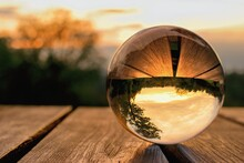 Lens Ball Creative Photography, Autumnal Landscape Reflection