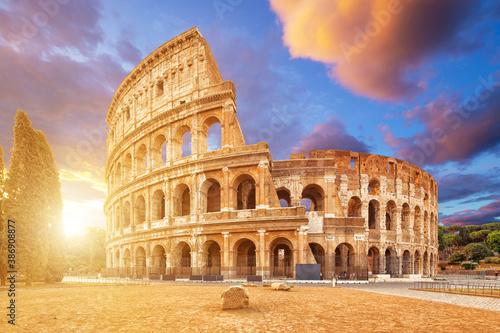 Fototapety, obrazy: Coliseum or Flavian Amphitheatre (Amphitheatrum Flavium or Colosseo), Rome, Italy.