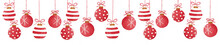 Collage Of Red Christmas Hanging Baubles On White, Watercolor