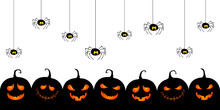 Halloween Pumpkins. Cute Evil Jack-o-lantern Silhouettes. Vector Illustration