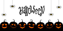 Halloween Typography With Scary Pumpkins. Cute Evil Jack-o-lantern Silhouettes. Vector Illustration.