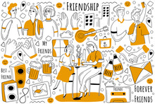 Friendship Doodle Set. Collection Of Hand Drawn Sketche Templates Patterns Of Happy Male Female Friends Having Fun And Spending Time Together. Friendly Relationship Between People Illustration.