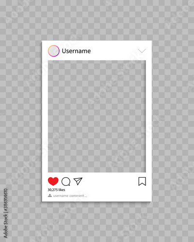 Fototapeta Frame for social post. Frame for photo in social media.Template of profile, post and message with interface, comment and like. Mockup and icon for phone and app. Social network concept. Vector obraz na płótnie