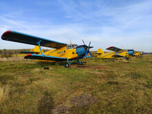 Parking Yellow Old Piston Airc...