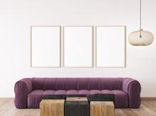 Frame Mockup In Bright Living Room Interior, Modern Sofa On White Wall, 3d Render