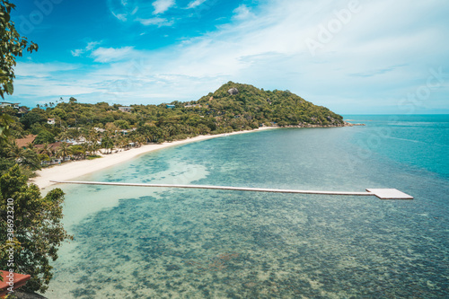 фотография Panoramic view of beautiful sea and blue sky from high view point