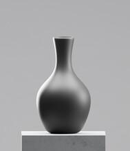 Black Vase On Cement Table
