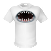 White T-shirt And A Picture Of The Shark Jaw. Illustration On White Background