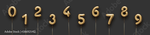 Fotografia, Obraz Set of isolated golden balloon numbers.