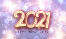 Golden Foil Balloon 2021 Sign On Nacreous Background.