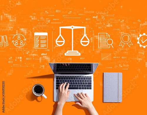 Legal advice service concept with person using a laptop computer Wallpaper Mural