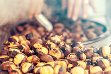 Close-up Of Fried Chestnuts On The Street Of Istanbul, Turkey. Chestnut Is Traditional Turkish Street Food