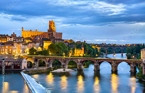 Albi featuring the Sainte-Cecile Cathedral and the Old Bridge over the river Tarn Fotobehang