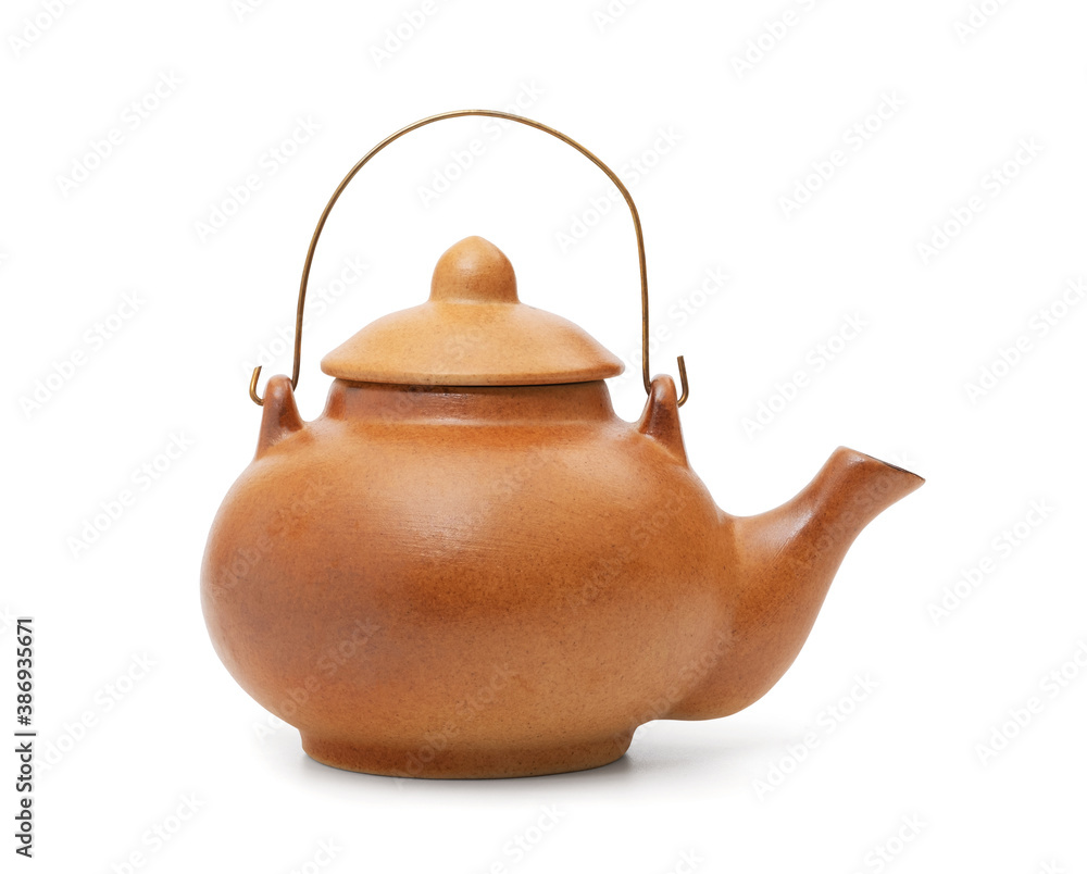 Fototapeta Ceramic teapot isolated on white background with clipping path