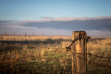 Fence Post With Barbed Wire In...