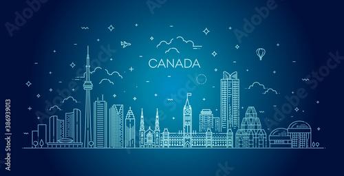 Naklejka premium Canada architecture line skyline illustration