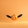 canvas print picture Halloween concept, Happy Pumpkin with wings flying on orange colors background, minimal style, 3d render.