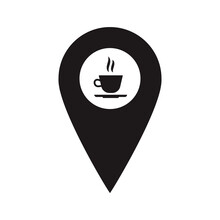 Black Map Pointer With Coffee Cup Inside. Restaurant Marker. A Place To Drink Tea. You Are Here Symbol. Gps Navigation. Vector Flat Design Map Marker Icon That Points Location. Web Element Design.