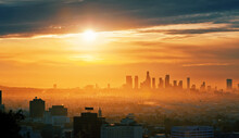 City Of Los Angeles Skyline At...