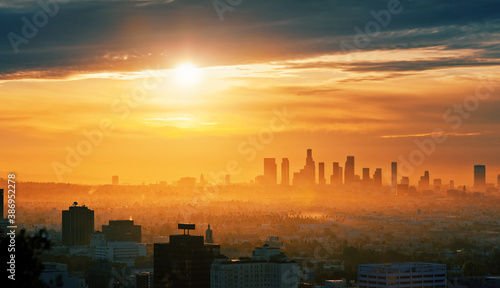 Obraz City of Los Angeles skyline at sunrise, scenic cityscape view from Hollywood Hills. - fototapety do salonu