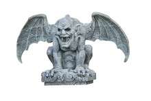 A Frightening Classic Stone Winged Gargoyle Figure.