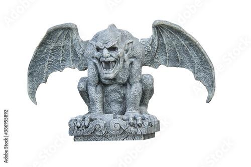 Fotografija A Frightening Classic Stone Winged Gargoyle Figure.