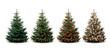 Vier Weihnachtsbäume - ungeschmückt und geschmückt
