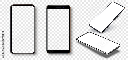 Smartphone frame less blank screen, rotated position. Smartphone from different angles. Mockup generic device. UI/UX smartphones set. Template for infographics or presentation 3D realistic phones. - 386962074